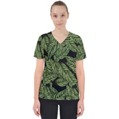 Tropical Leaves On Black Women s V Neck Scrub Top