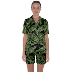 Tropical Leaves On Black Satin Short Sleeve Pyjamas Set