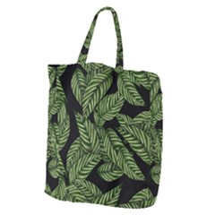 Tropical Leaves On Black Giant Grocery Tote