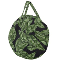 Tropical Leaves On Black Giant Round Zipper Tote