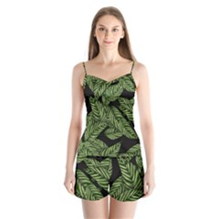 Tropical Leaves On Black Satin Pajamas Set