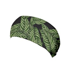 Tropical Leaves On Black Yoga Headband