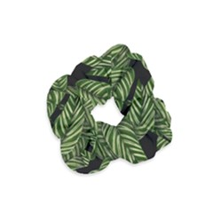 Tropical Leaves On Black Velvet Scrunchie