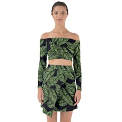 Tropical Leaves On Black Off Shoulder Top With Skirt Set