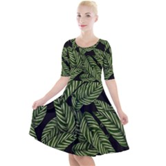 Tropical Leaves On Black Quarter Sleeve A Line Dress