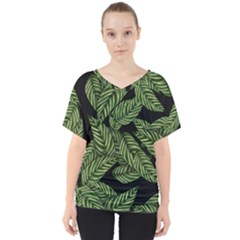 Tropical Leaves On Black V Neck Dolman Drape Top