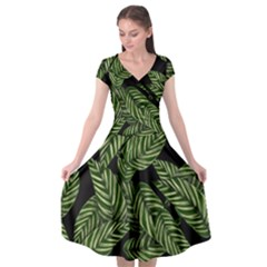 Tropical Leaves On Black Cap Sleeve Wrap Front Dress