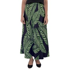 Tropical Leaves On Black Flared Maxi Skirt