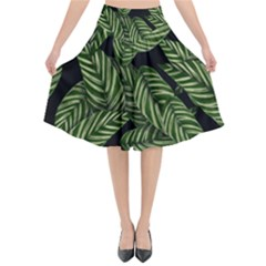 Tropical Leaves On Black Flared Midi Skirt