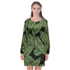 Tropical Leaves On Black Long Sleeve Chiffon Shift Dress