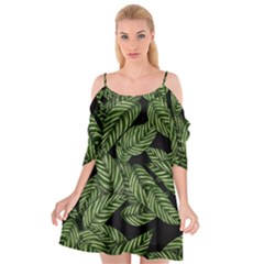 Tropical Leaves On Black Cutout Spaghetti Strap Chiffon Dress