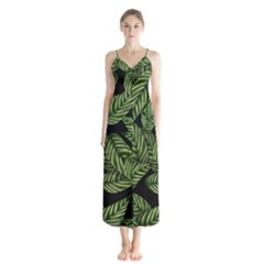 Tropical Leaves On Black Button Up Chiffon Maxi Dress