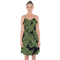 Tropical Leaves On Black Ruffle Detail Chiffon Dress