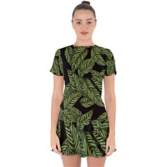 Tropical Leaves On Black Drop Hem Mini Chiffon Dress
