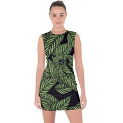 Tropical Leaves On Black Lace Up Front Bodycon Dress