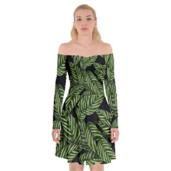 Tropical Leaves On Black Off Shoulder Skater Dress