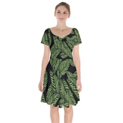 Tropical Leaves On Black Short Sleeve Bardot Dress