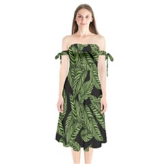 Tropical Leaves On Black Shoulder Tie Bardot Midi Dress