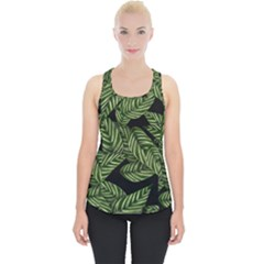 Tropical Leaves On Black Piece Up Tank Top