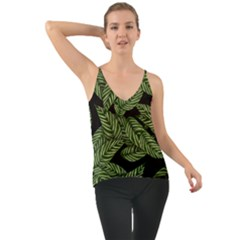 Tropical Leaves On Black Chiffon Cami