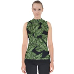 Tropical Leaves On Black Mock Neck Shell Top