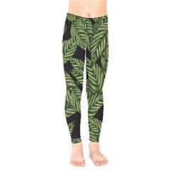 Tropical Leaves On Black Kids  Legging