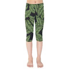 Tropical Leaves On Black Kids  Capri Leggings