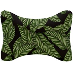 Tropical Leaves On Black Seat Head Rest Cushion
