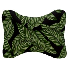 Tropical Leaves On Black Velour Seat Head Rest Cushion
