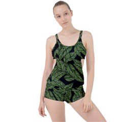 Tropical Leaves On Black Boyleg Tankini Set