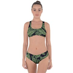 Tropical Leaves On Black Criss Cross Bikini Set
