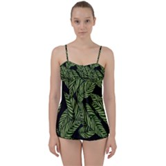 Tropical Leaves On Black Babydoll Tankini Set