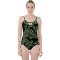 Tropical Leaves On Black Cut Out Top Tankini Set