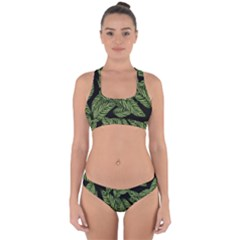 Tropical Leaves On Black Cross Back Hipster Bikini Set