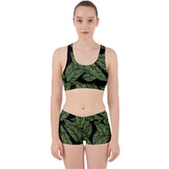 Tropical Leaves On Black Work It Out Gym Set