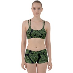 Tropical Leaves On Black Perfect Fit Gym Set