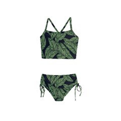 Tropical Leaves On Black Girls  Tankini Swimsuit
