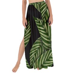 Tropical Leaves On Black Maxi Chiffon Tie Up Sarong
