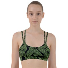 Tropical Leaves On Black Line Them Up Sports Bra