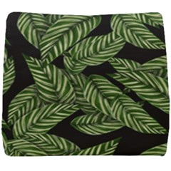 Tropical Leaves On Black Seat Cushion
