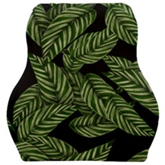 Tropical Leaves On Black Car Seat Velour Cushion