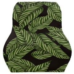 Tropical Leaves On Black Car Seat Back Cushion