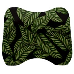 Tropical Leaves On Black Velour Head Support Cushion