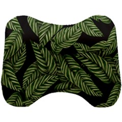 Tropical Leaves On Black Head Support Cushion