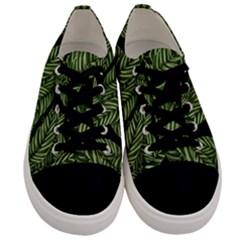 Tropical Leaves On Black Men s Low Top Canvas Sneakers