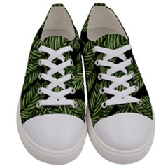 Tropical Leaves On Black Women s Low Top Canvas Sneakers