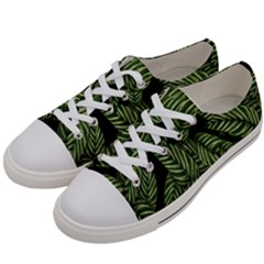 Tropical Leaves On Black Women s Low Top Canvas Sneakers by vintage2030