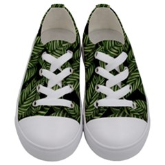 Tropical Leaves On Black Kids  Low Top Canvas Sneakers