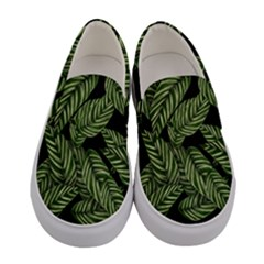Tropical Leaves On Black Women s Canvas Slip Ons