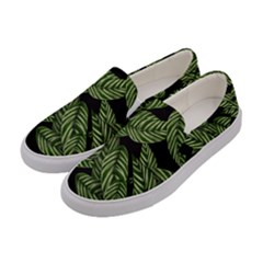 Tropical Leaves On Black Women s Canvas Slip Ons by vintage2030